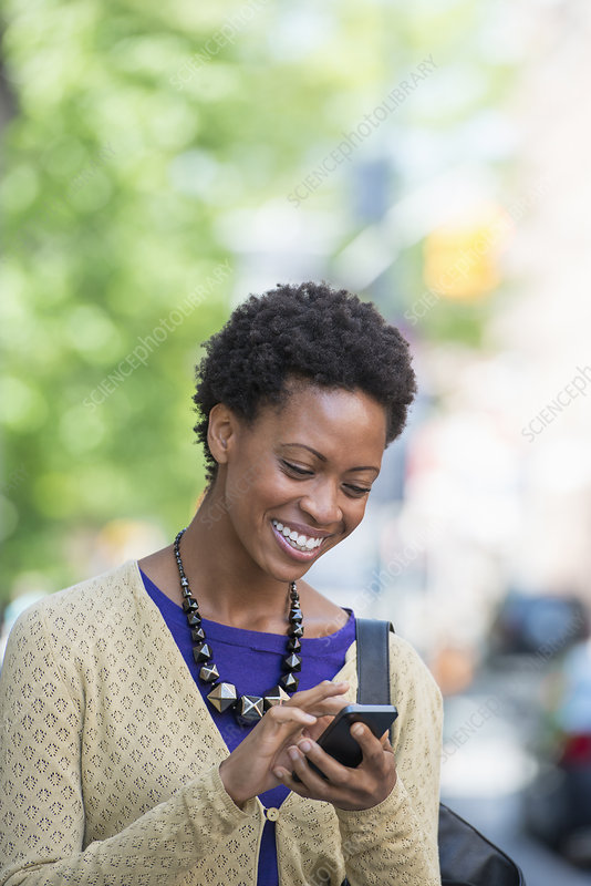 Woman checking her smart phone