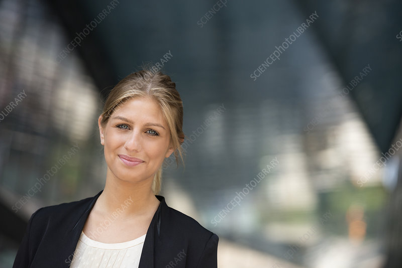 Blond haired woman on a street