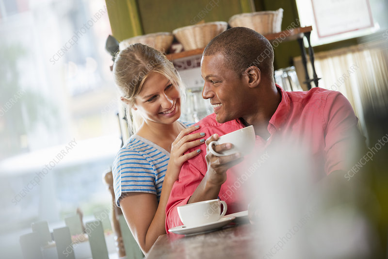 Two people meeting in coffee shop