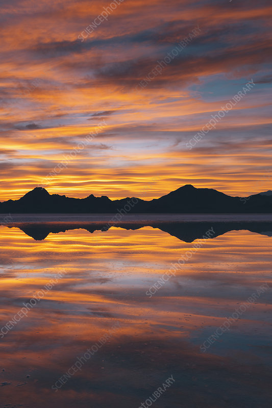 The sky at sunset reflected in water