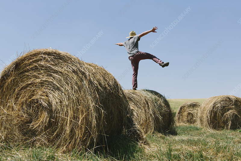 Man balancing on one leg on Hay bale