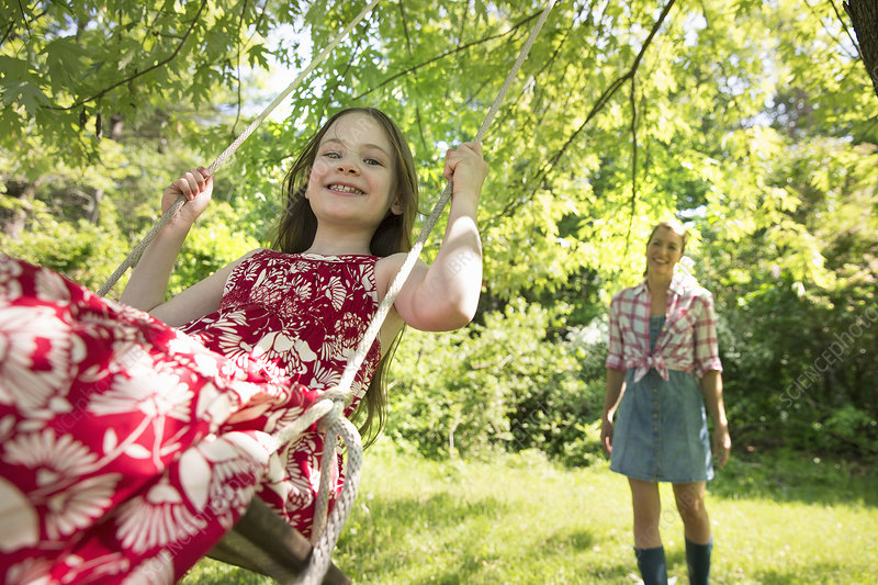 Child on a tree swing
