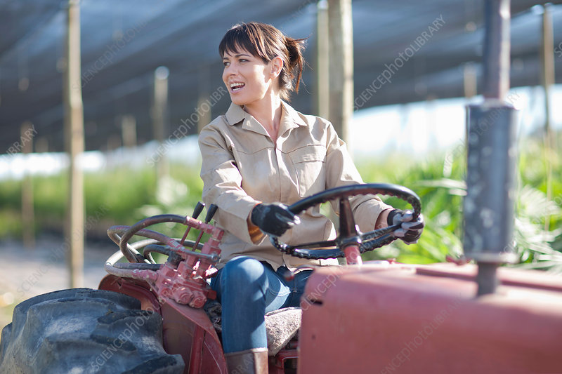 Woman on vehicle in plant nursery