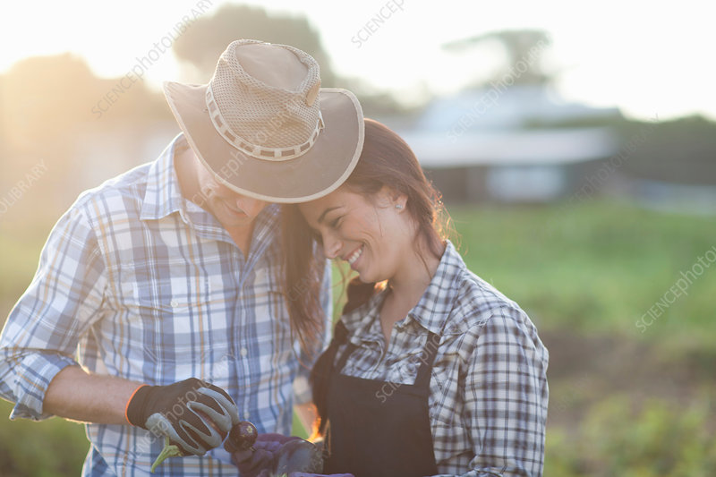 Young couple on farm