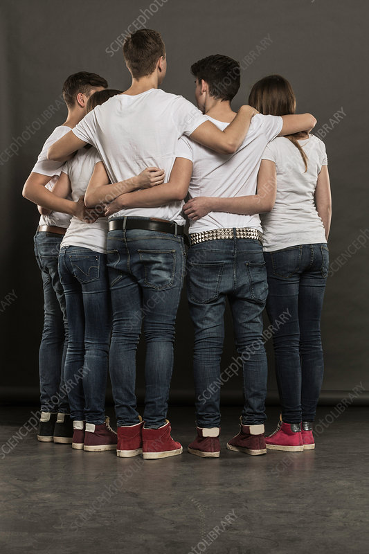 Rear view of five teenagers in huddle