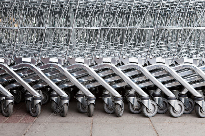 Shopping trolleys in a row
