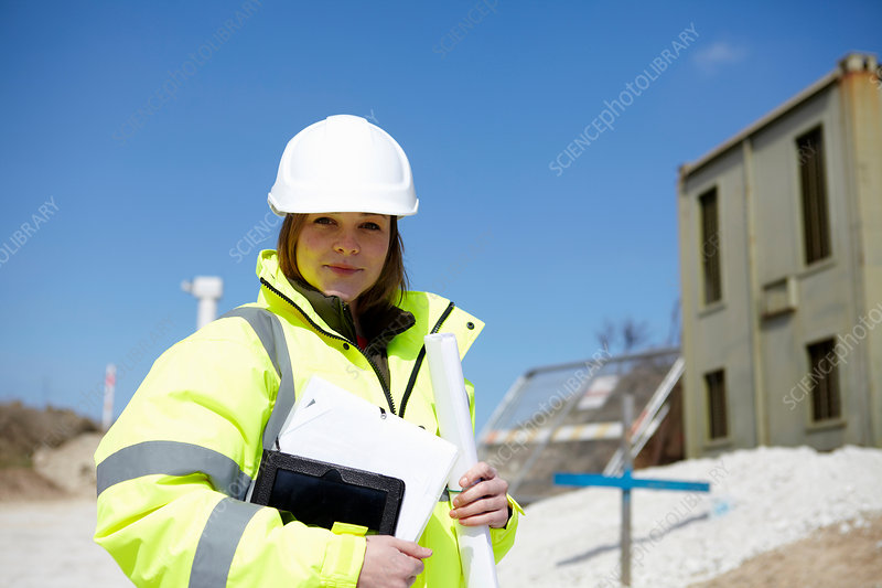 Woman on construction site
