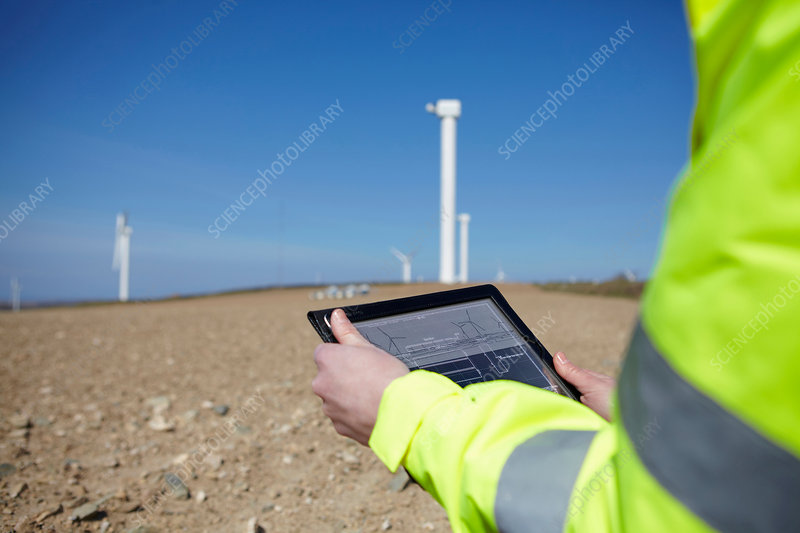 Project manager using digital tablet