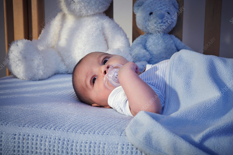 Baby boy and teddy bears in crib at night