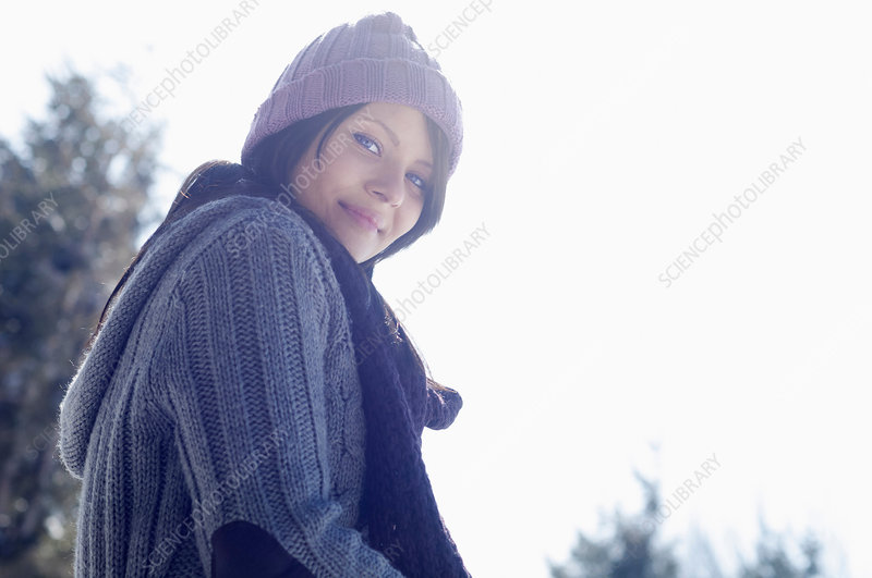 Female wearing knitted hat