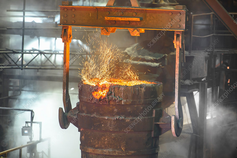 Industrial molten bucket in steel foundry