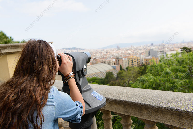 Tourist looking at view, Barcelona, Spain