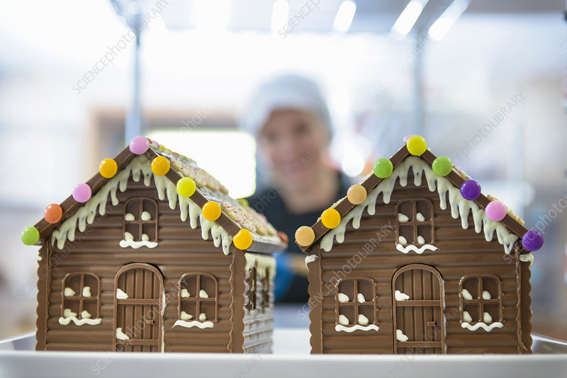 Chocolate houses made in sweet factory