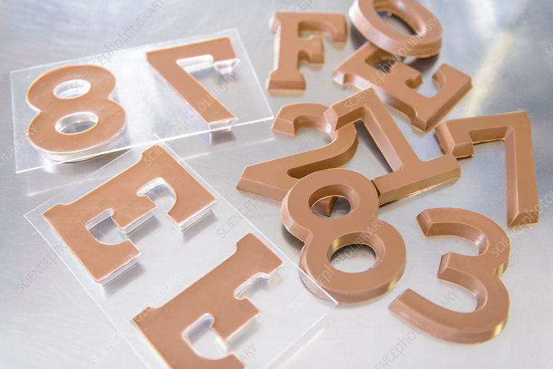 Moulded chocolate numerals and letters