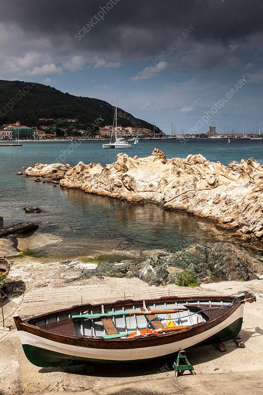 Fishing boats near marciano marina italy stock image for Fishing docks near me