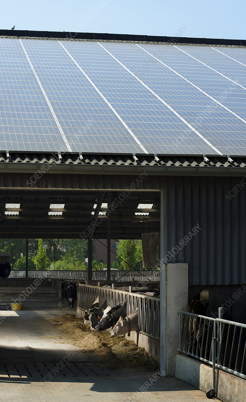 Solar panels on barn roof, Germany