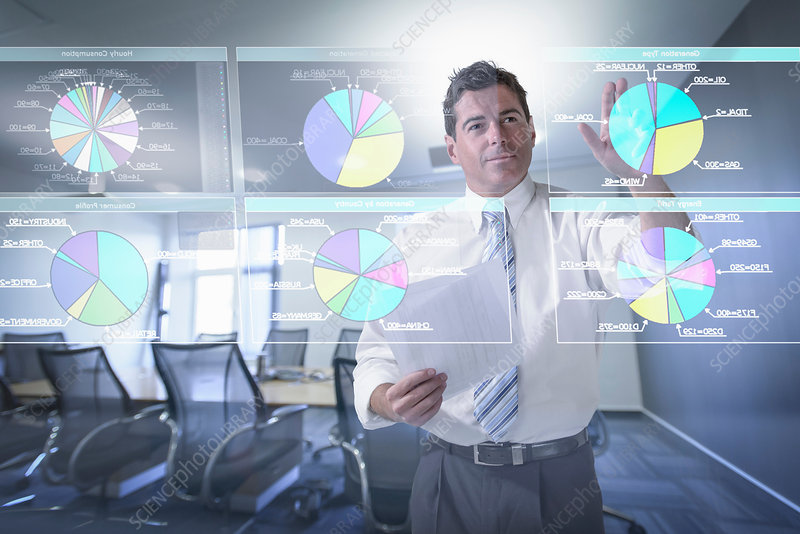 Businessman looking at pie charts