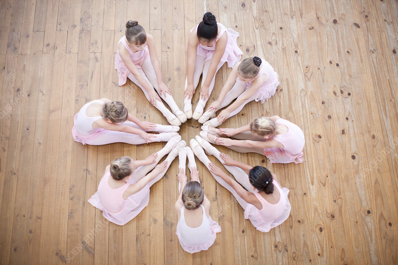 Young ballerina group in circle