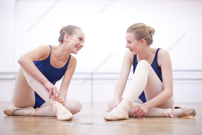 Two ballerinas chatting