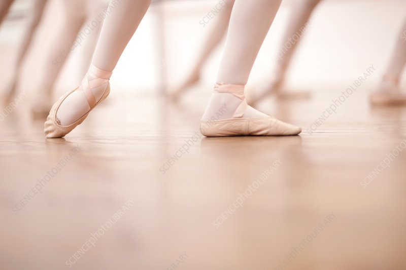 Detail of ballerinas legs in dance class