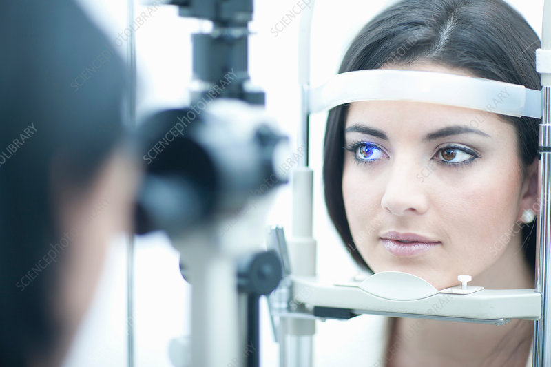 Young woman having eye examination