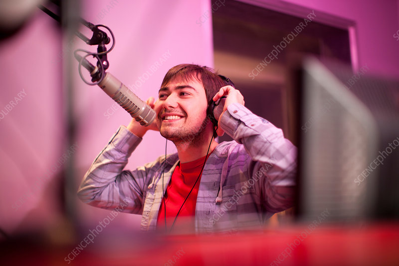 Man broadcasting in recording studio