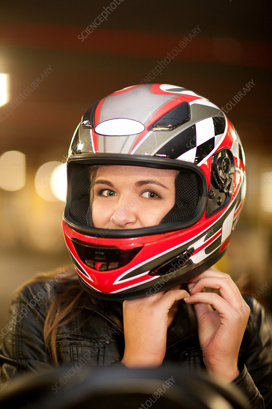 Close up of young woman on go cart