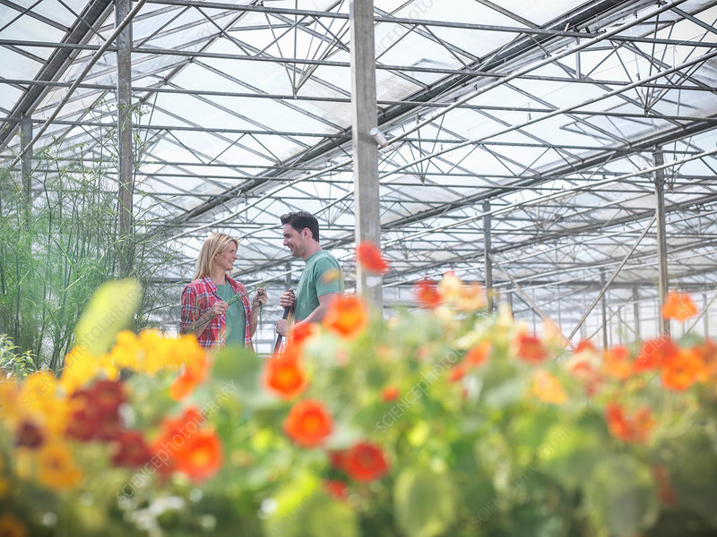 Man and woman smiling in greenhouse