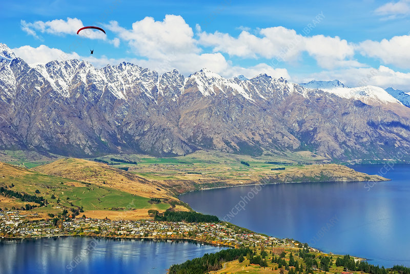 Paragliding over mountains, New Zealand