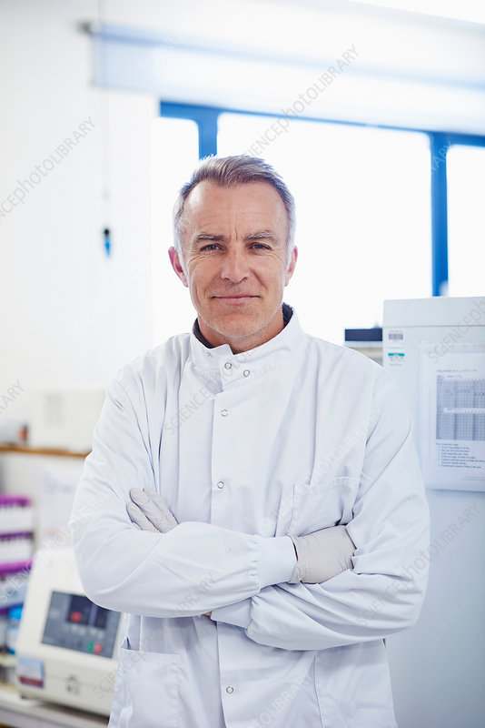 Researcher wearing lab coat