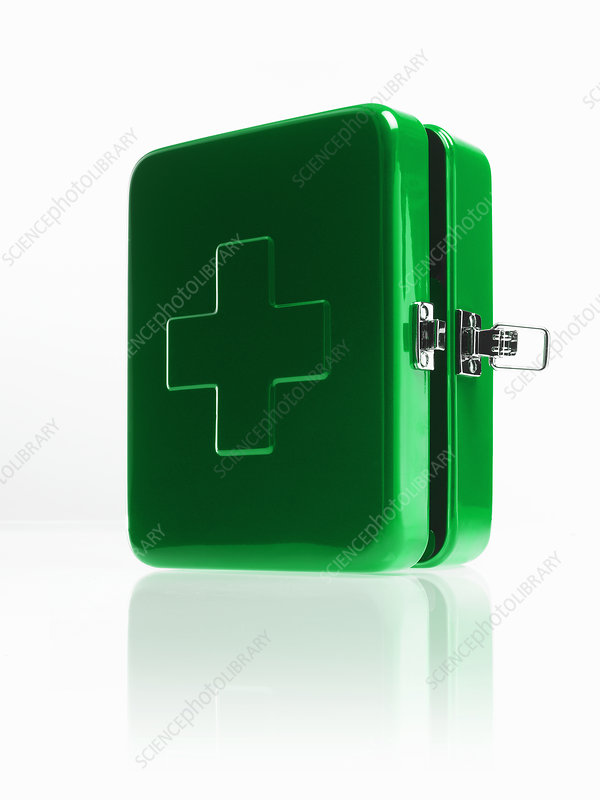 Green metal first aid box