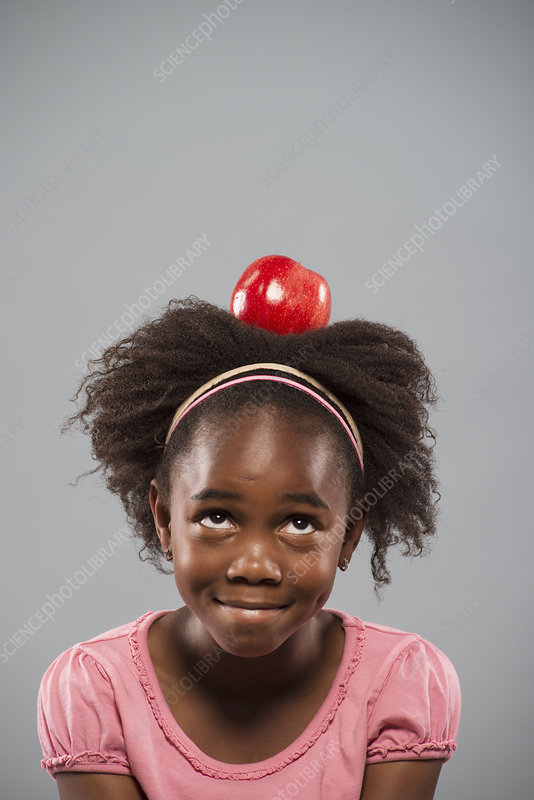 A girl with an apple on his head