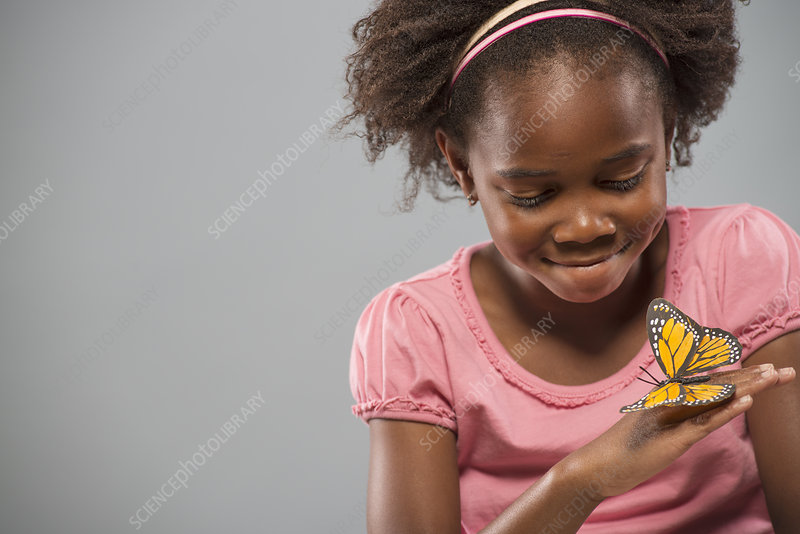 Girl with a yellow butterfly on her hand