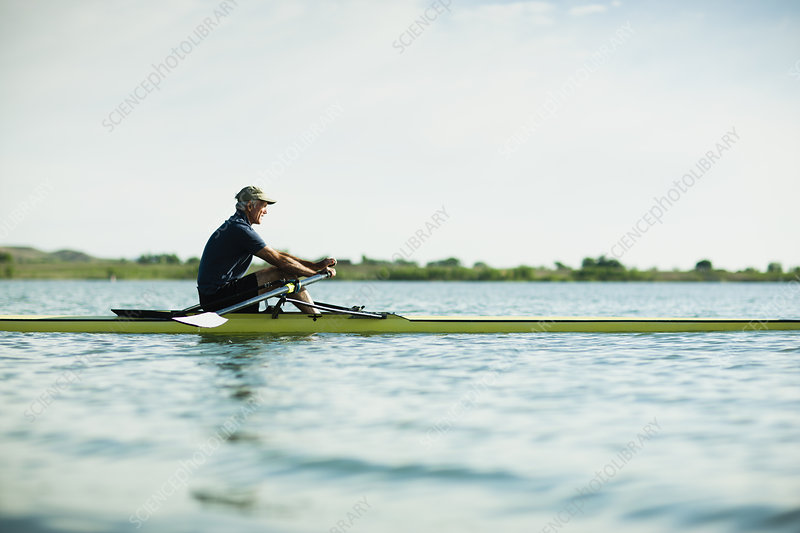 A middle-aged man rowing a single scull