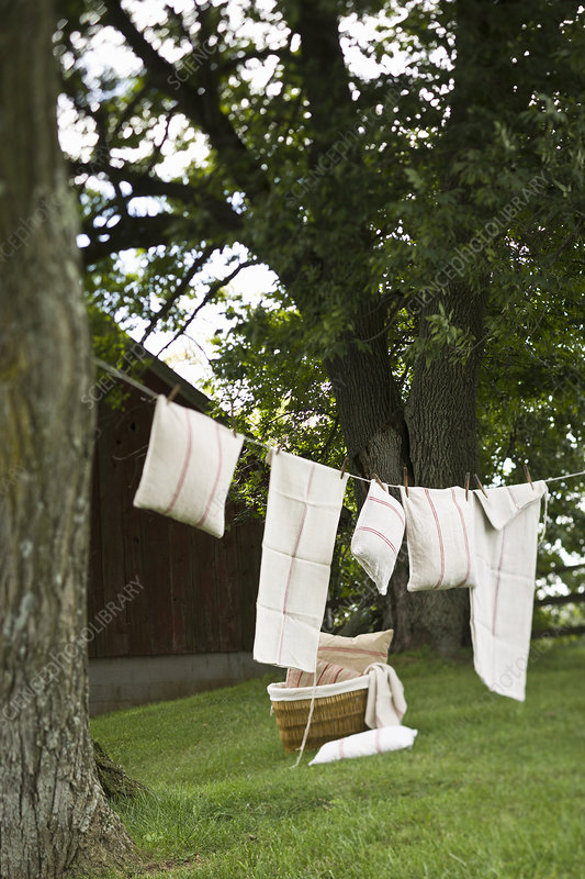 A washing line with household linens