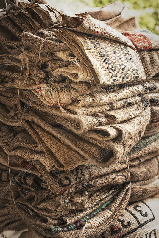A pile of empty coffee bean sacks