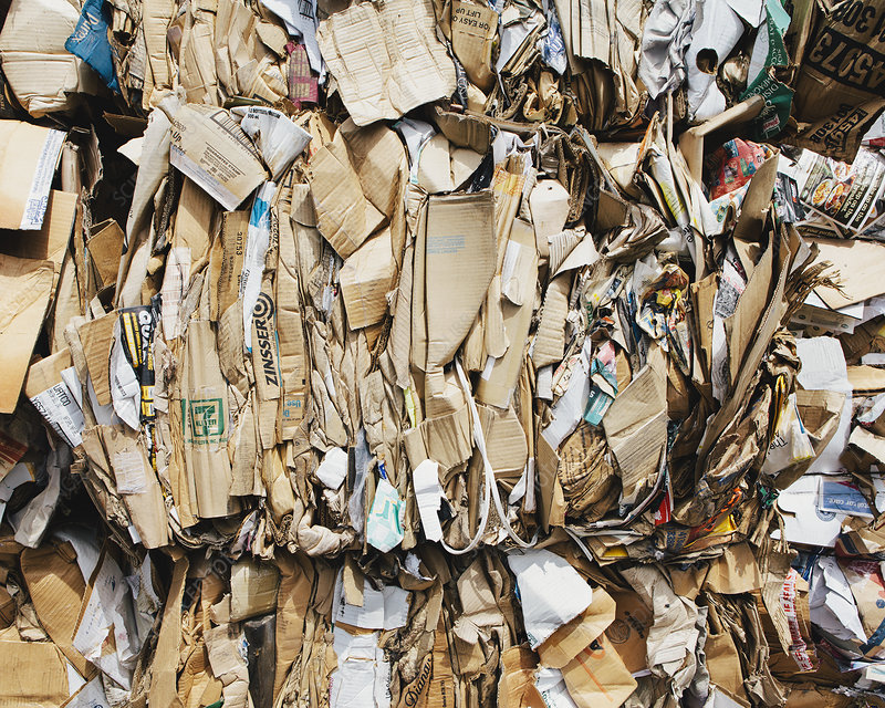 Cardboard at recycling facility
