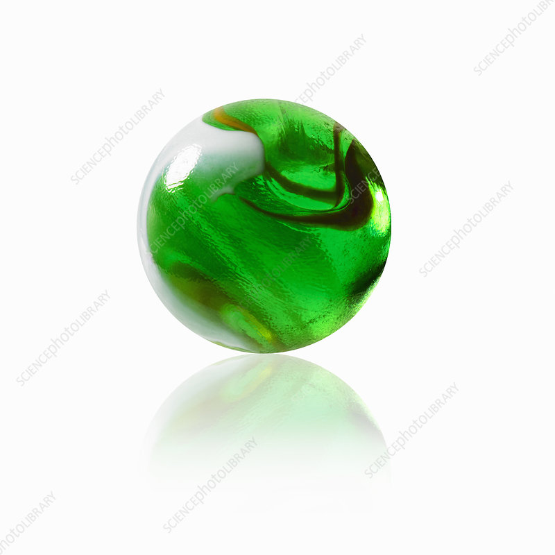 A green glass marble