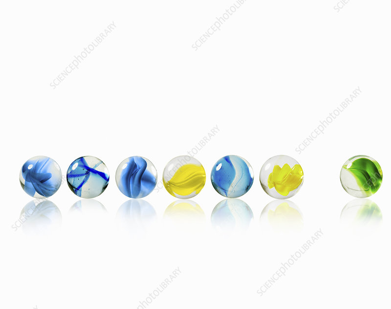 A row of glass marbles