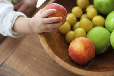 A child grasping fruit from bowl