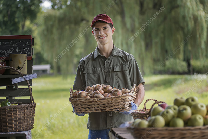 Organic Farmer at Stand