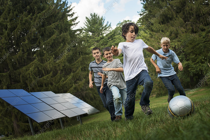 Boys at Play with Solar Panels