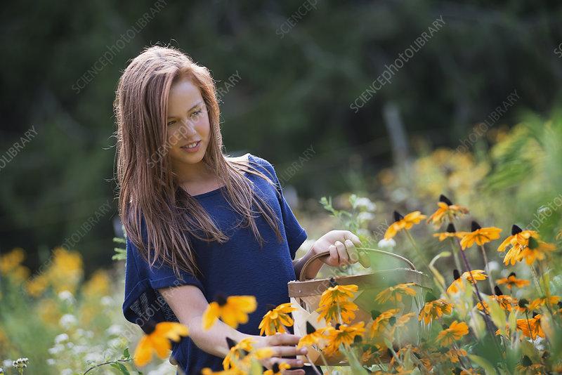 Girl in Field at Organic Farm