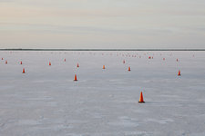 Traffic cones on Bonneville Salt Flats