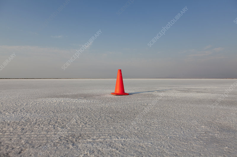 Traffic cone on Bonneville Salt Flats