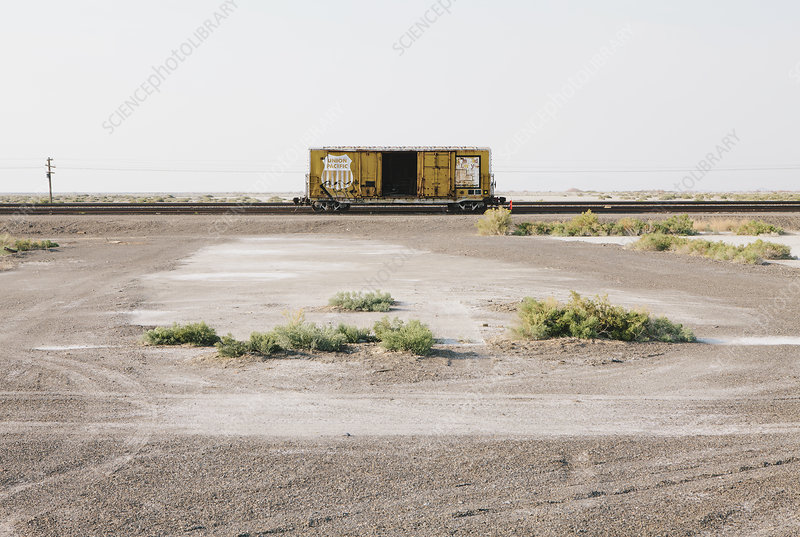 Empty train car in desert, near Wendover