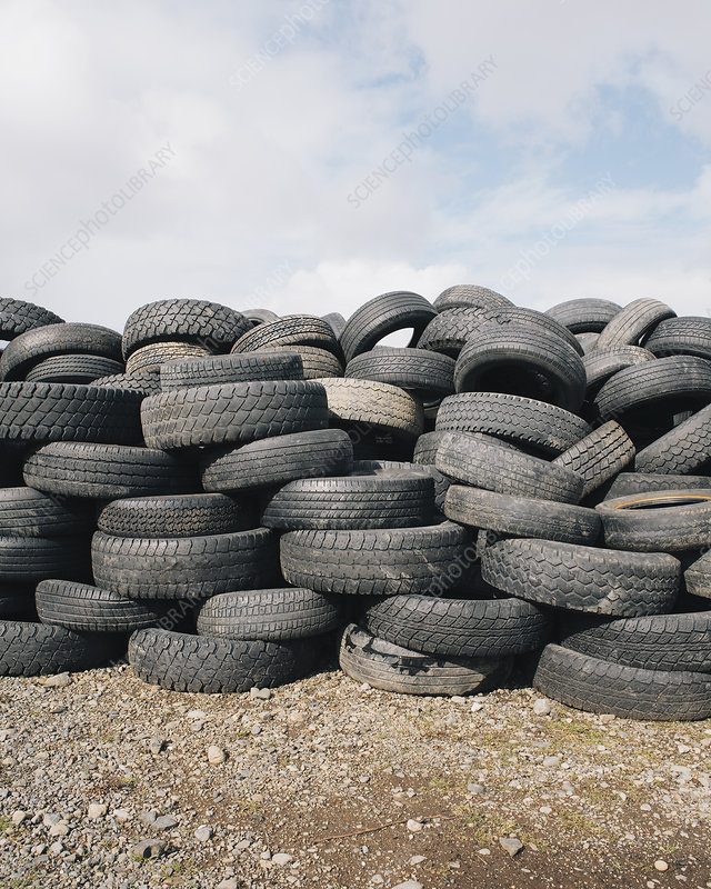 Stack of discarded tires, USA