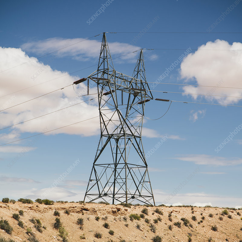 Large power line in desert, near Tucson