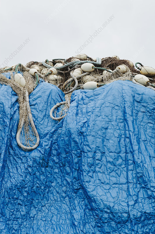 Commercial fishing nets and tarp