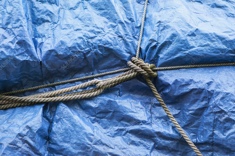 Tarp covering commercial fishing nets